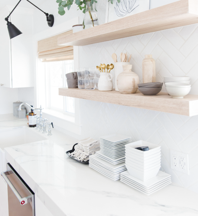 #CutestLittleKitchenProj Styled Kitchen Counter and Open Shelves with Sink and Dishwasher