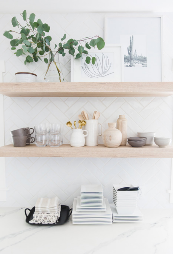#CutestLittleKitchenProj Styled Kitchen Counter and Open Shelves