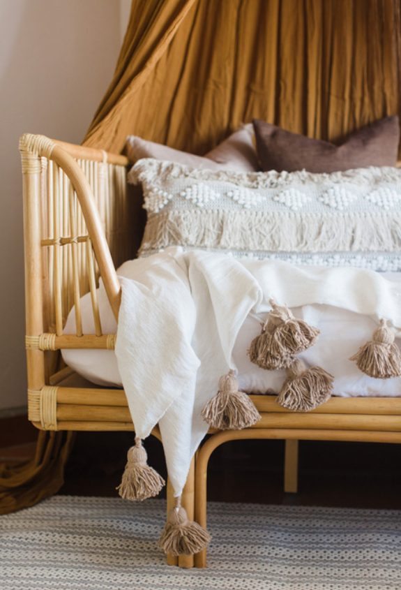 #SaltilloFTWProj Rattan Day bed with tassel blanket