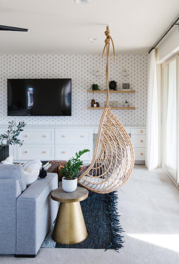 #JennyFromTheBlockProj Living Room Hanging Rattan Egg Chair