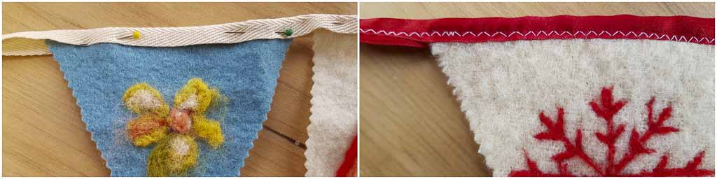 Assembling and Stitching Felt Bunting by Judy Glover Art