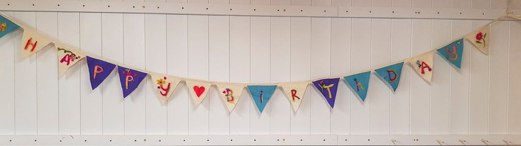 Happy Birthday Bunting that was used in the Birthday card Birthday Cake by Judi Glover Art