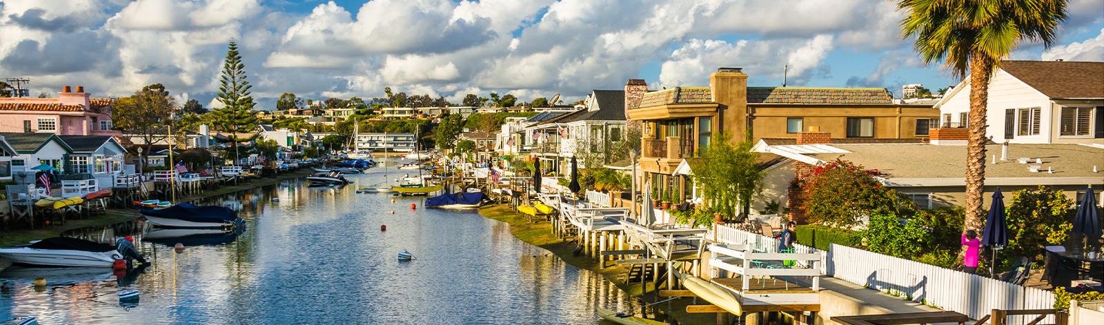 The Grand Canal, on Balboa Island, in Newport Beach, California