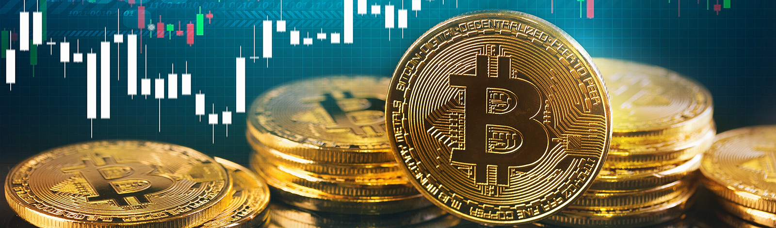 Bitcoins in front of digital background