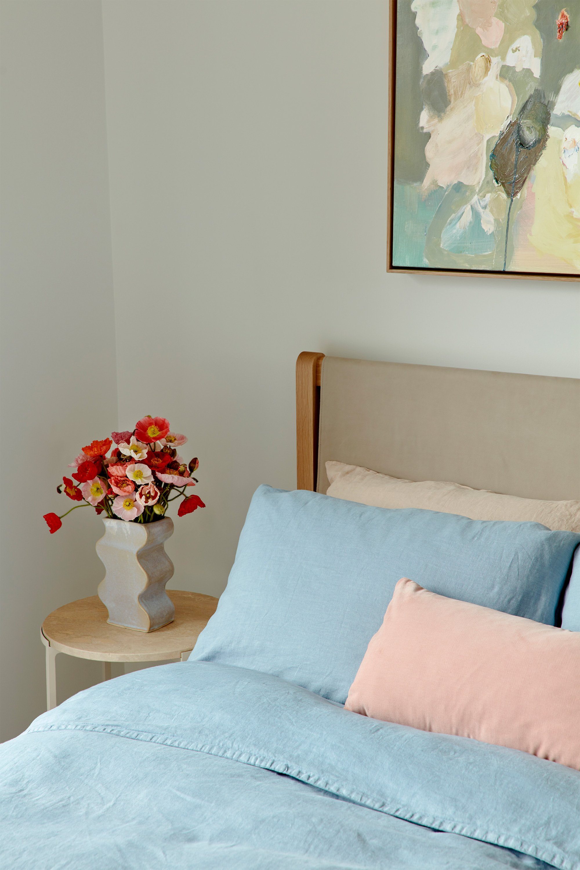 Alice Side Table, Wave Vase, Finley Bed + Airo Bed Linen