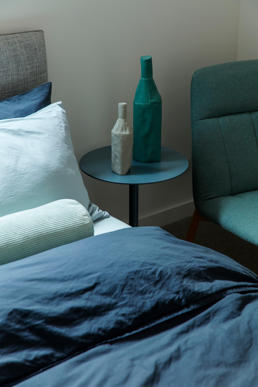 Nook Bed, Stonewash Bed Linen, Bonney Side Table + Essie Armchair