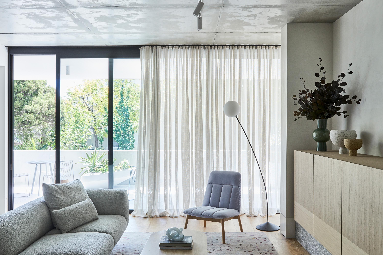 Miller Sofa, Alice Coffee Table, Essie Armchair, Boyd Floor Lamp,  Leo Rug + Raku Vessels