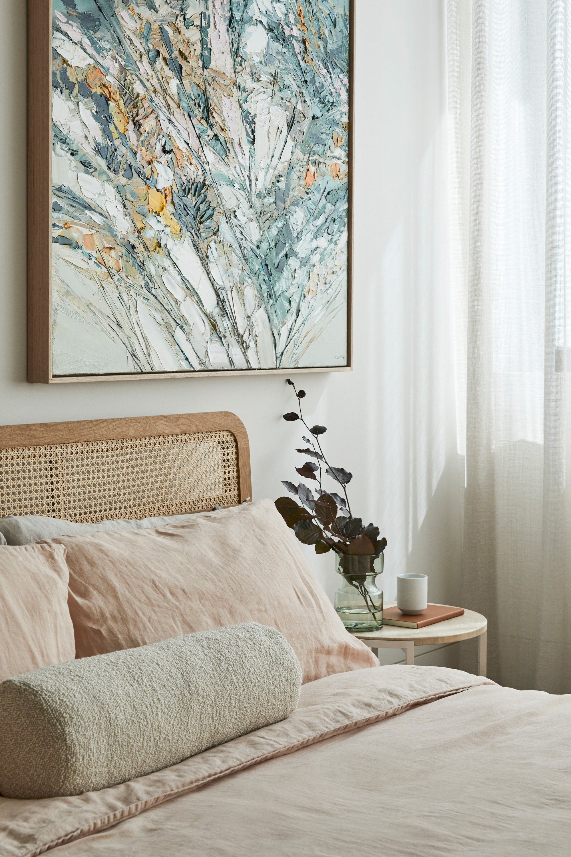 Willow Bed, Airo Bed Linen, Luna Cushion + Alice Side Table