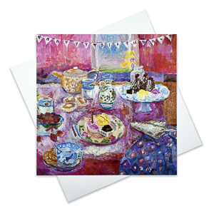 Arty birthday card with birthday celebrations by Judi Glover Art
