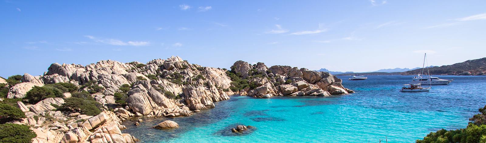 Beach of Cala Coticcio in Sardinia, Italy