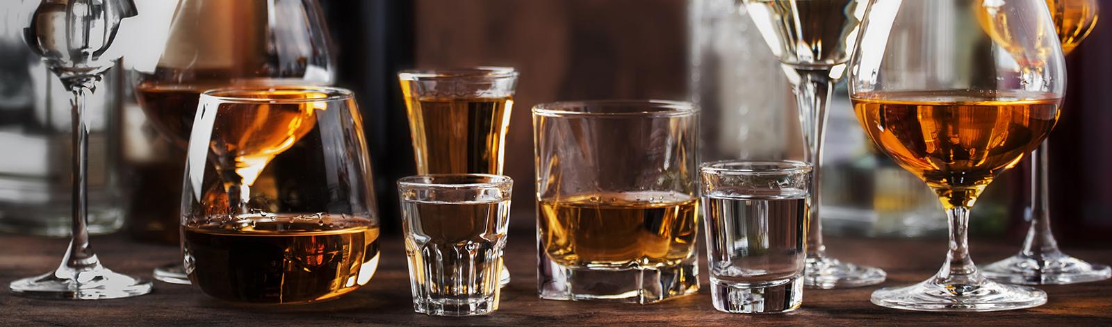 Assortment of liquors in glasses