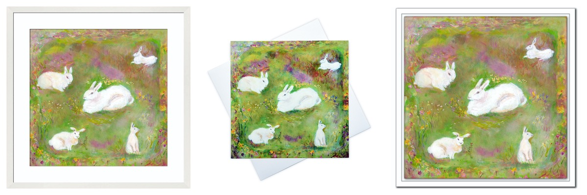 Rabbit Cards, Rabbit Prints and Rabbit Canvas Prints for Children's Wall Art created from paintings available at www.judigloverart.com