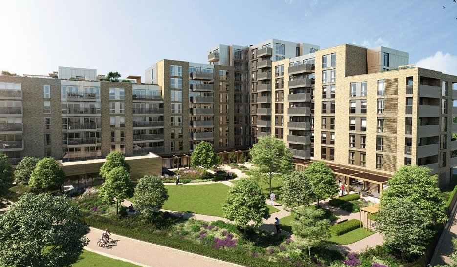 A CGI of the exterior of Audley, Mayfield. Modern apartment blocks with a large surface area of green space including trees and colourful flowers.