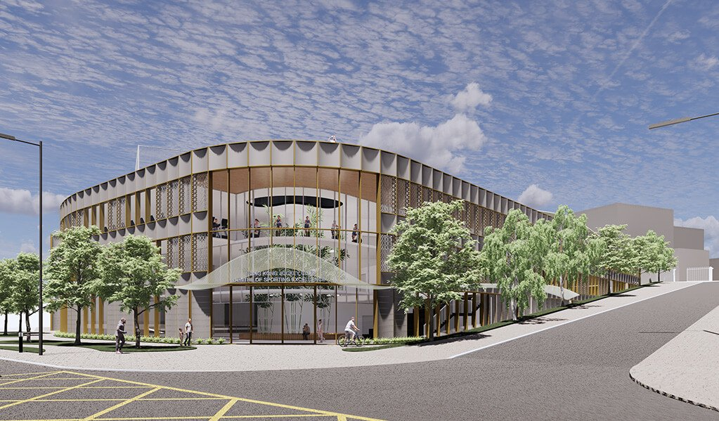 CGI of glass exterior entrance view of ESF sporting facility. Showing trees wrapping around the building and open roads.