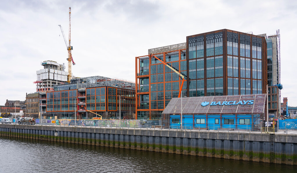The Barclays campus undergoing construction.