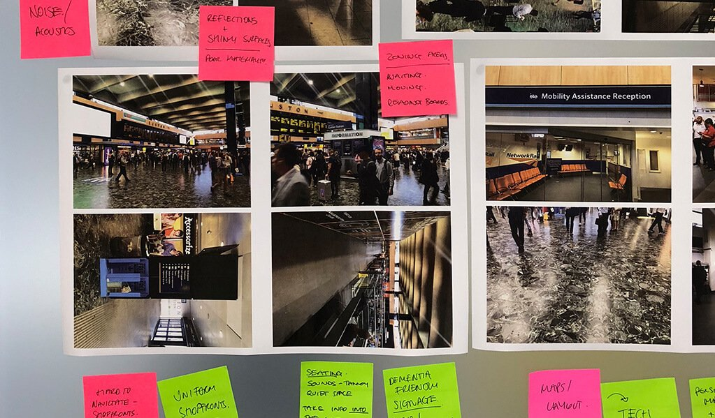 Various photos of London underground on a board with coloured sticky post it notes on.