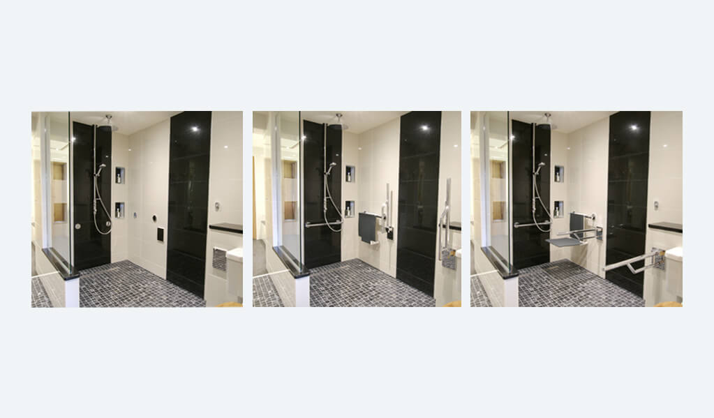 Split Screen with three images Image 1 - Monochrome interior tiled bathroom with view of chrome shower. Image 2 - Monochrome interior tiled bathroom with view of chrome shower and charcoal grey folded up. Image 3 - Monochrome interior tiled bathroom with view of chrome shower and charcoal grey seat down.