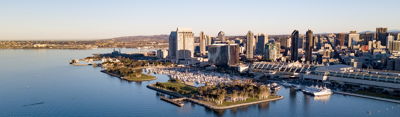 Drone view of San Diego from the bay