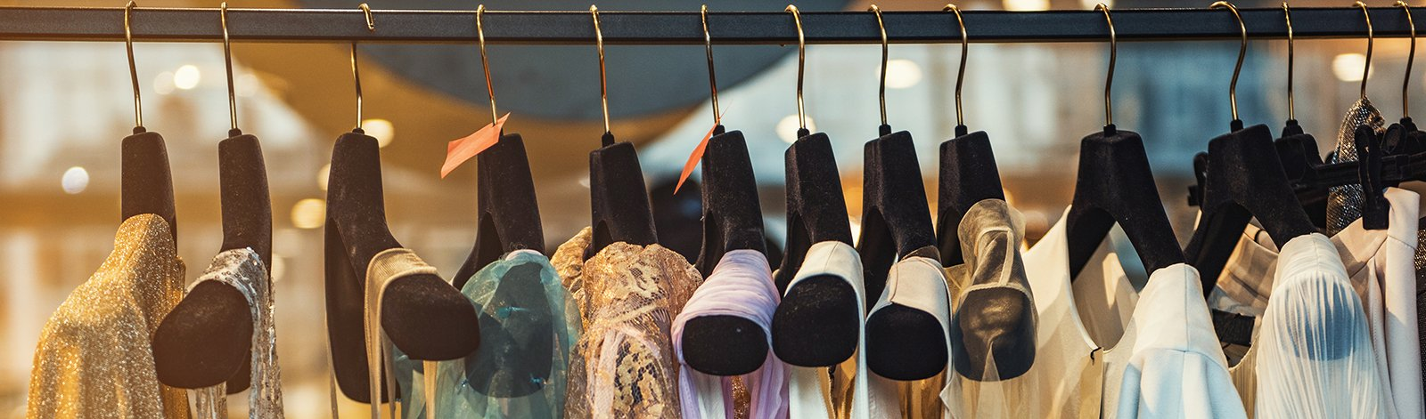 Fashionable clothes on a rack