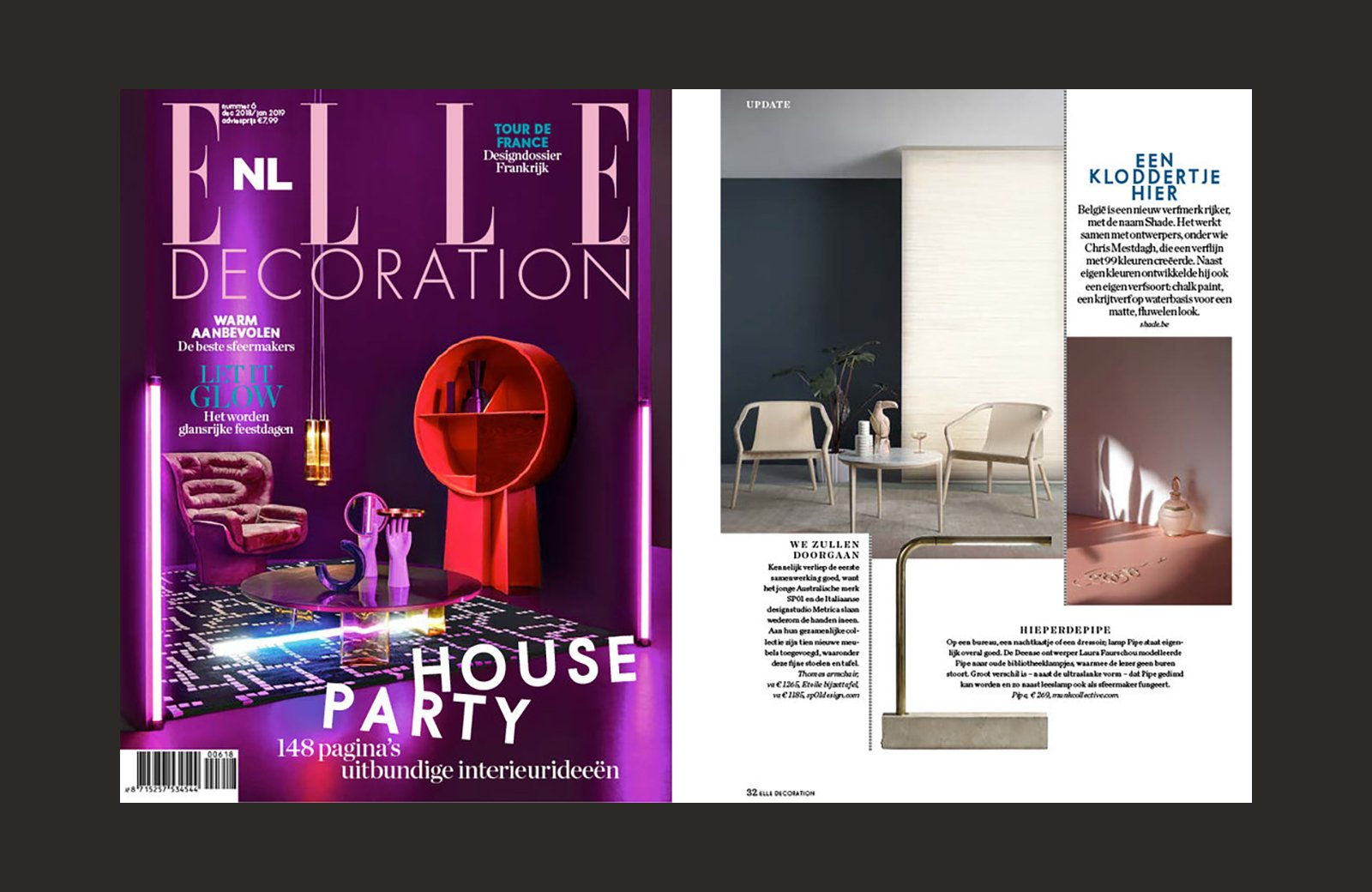 The SP01 Thomas Chair featured Elle Decoration (Netherlands), December/January 2018/2019