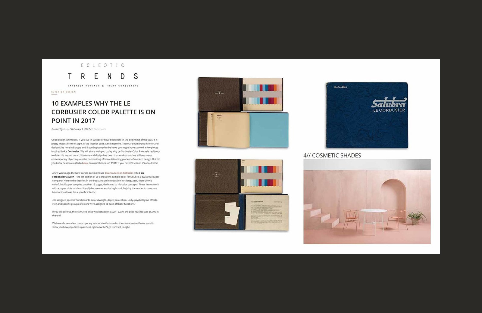 SP01's Parisi's table and chee stool featured in Final, Trends feature.
