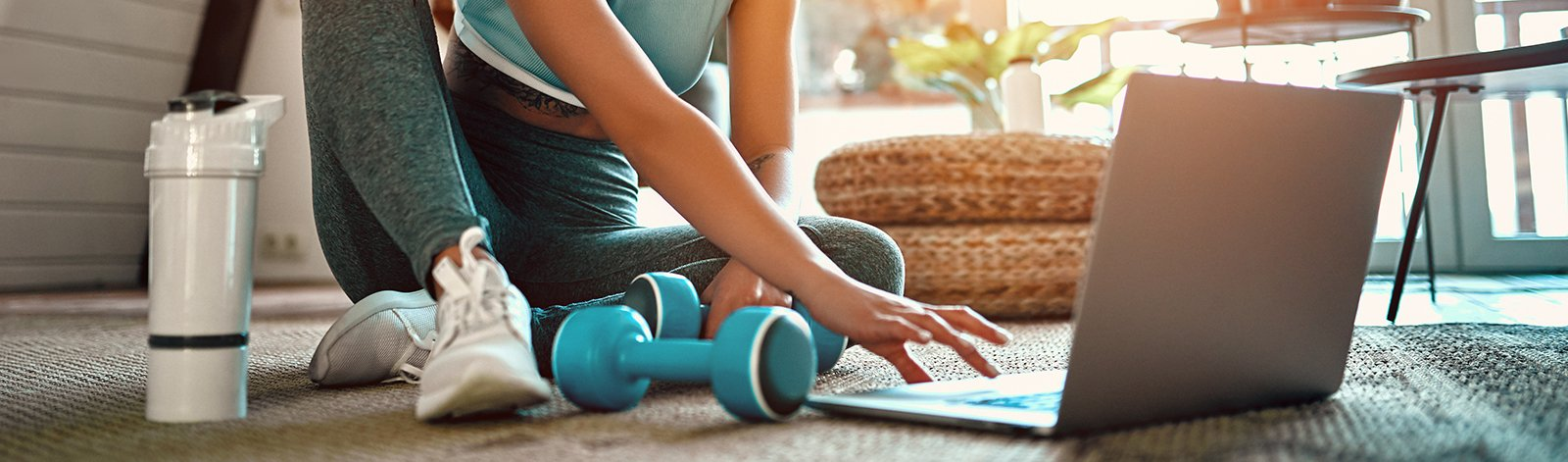 Woman getting ready to do an online workout