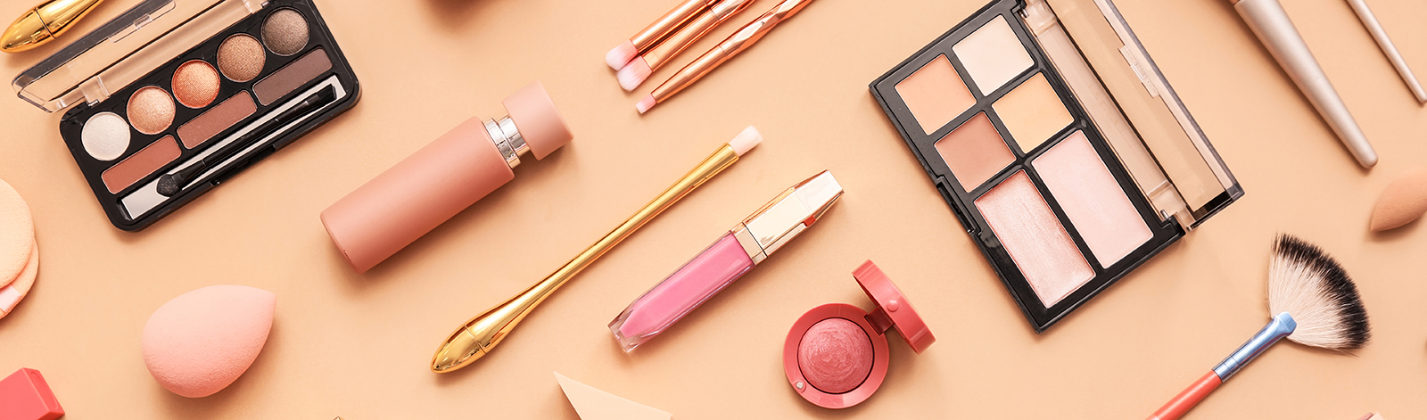 Set of makeup brushes with other makeup products