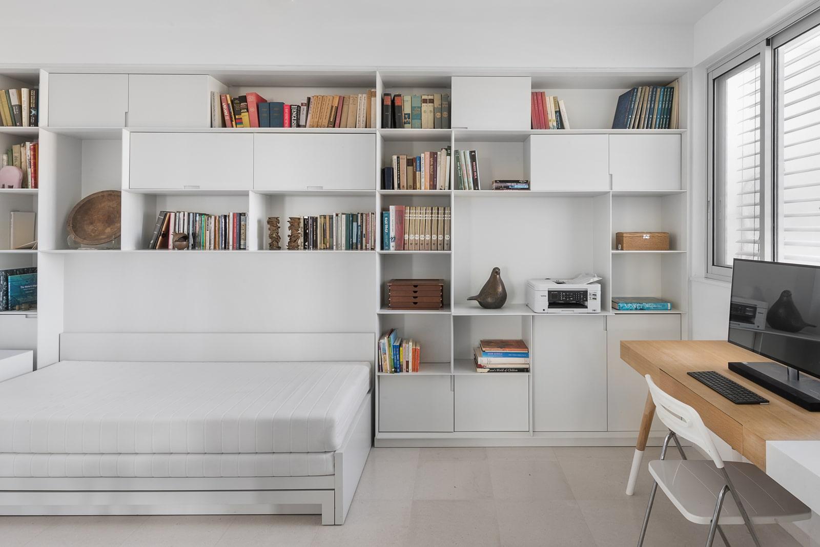 ספריית מדפים לבן אפוקסי מט חדר שינה