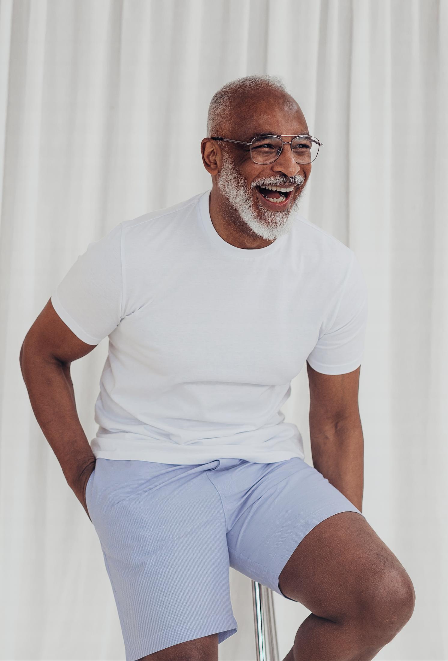 Standard Fit Light Blue Micro Check Loungewear Short Set