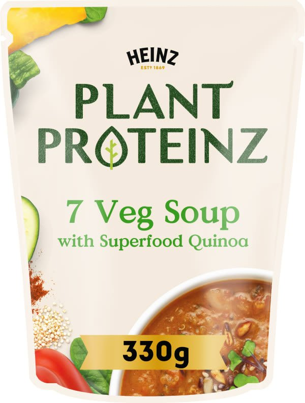Photograph of 1 x 330g Heinz® Plant Proteinz 7 Veg with Superfood Quinoa Soup product