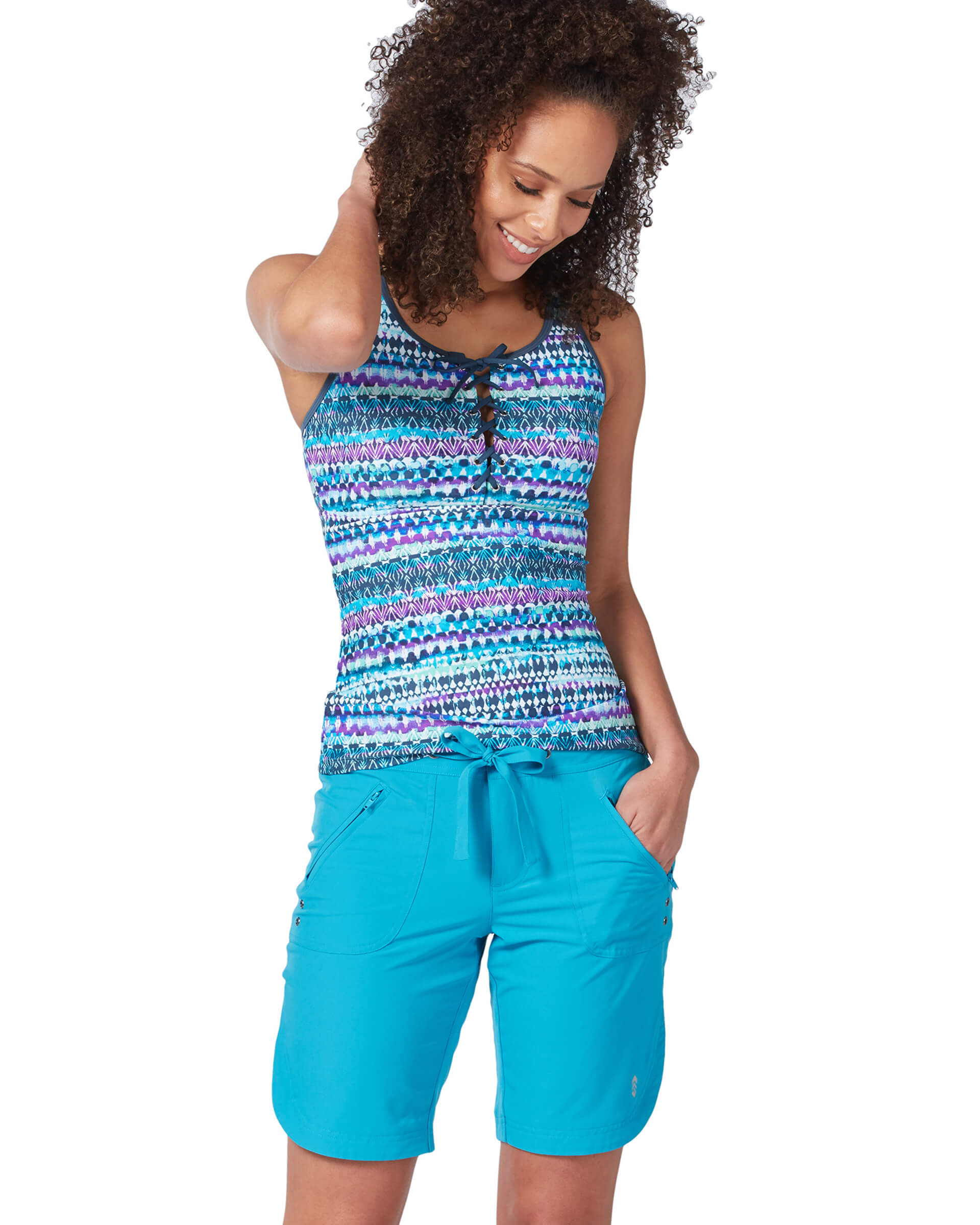 Women's Summer Bliss Lace Up Racerback Tankini Top