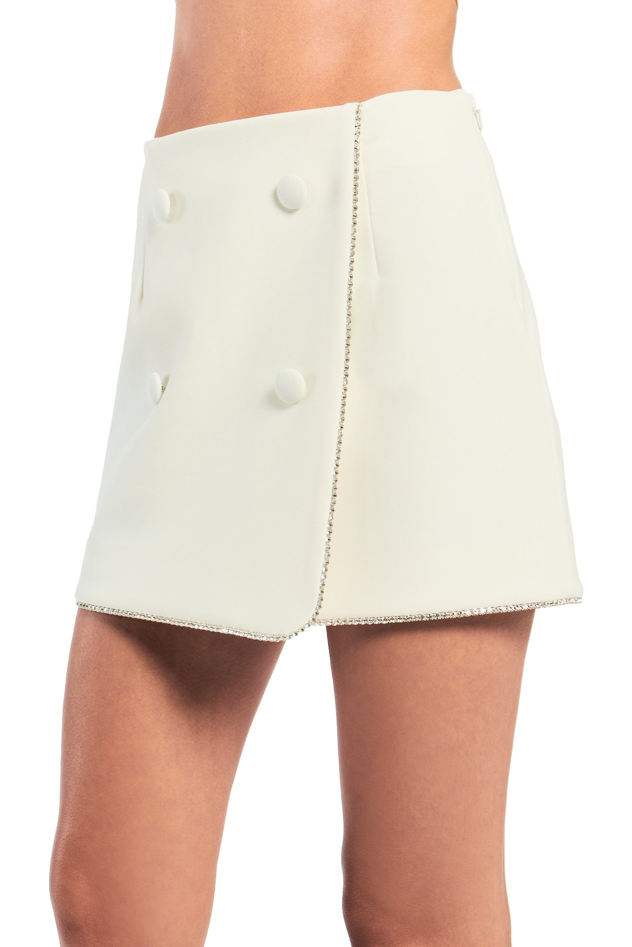 Crystal Trim Wrap Mini Skirt