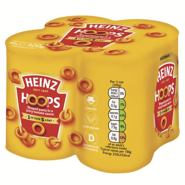 Photograph of 1 x 4 pack of 400g Heinz Hoops product