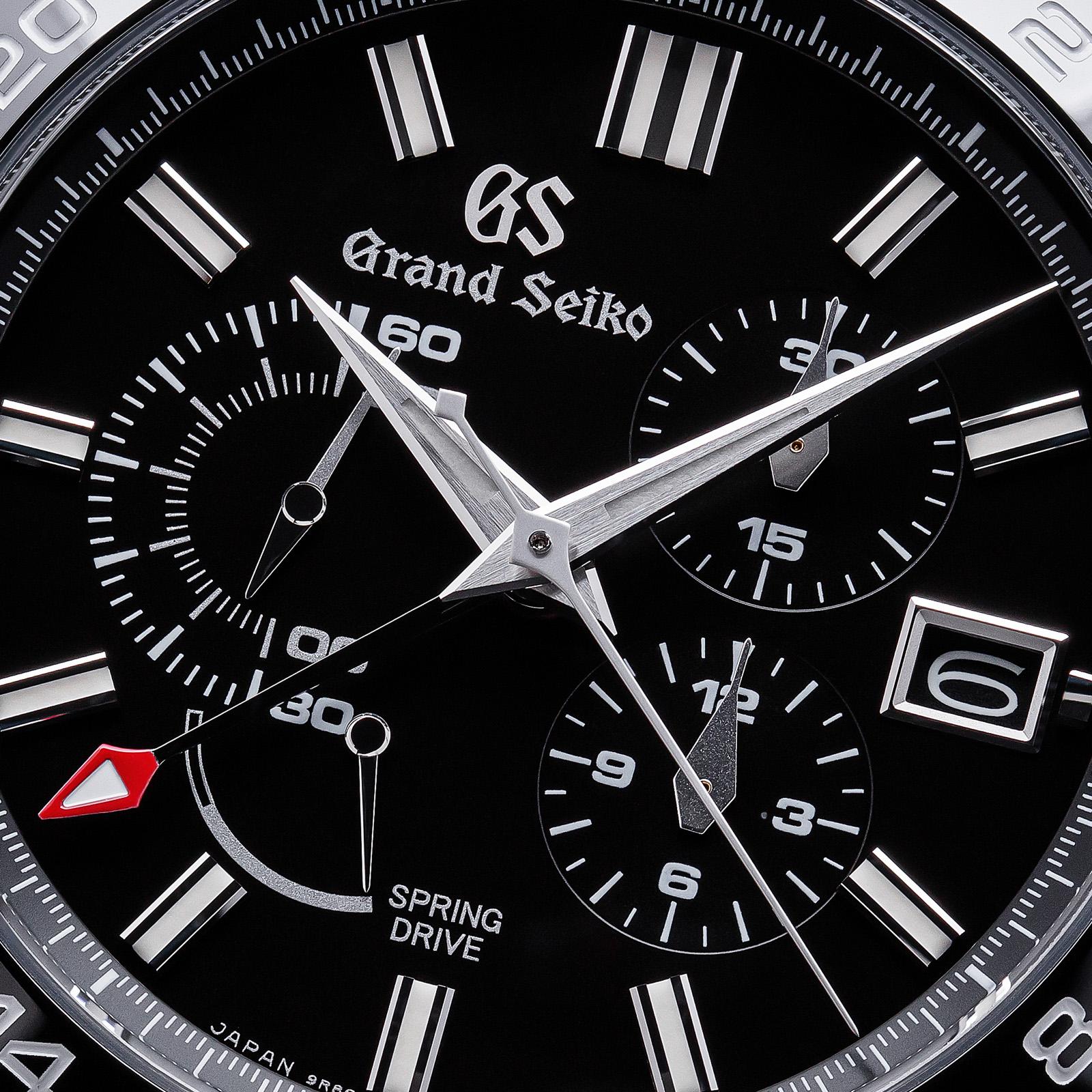 Grand Seiko SBGC223 Chronograph - macro of black dial.