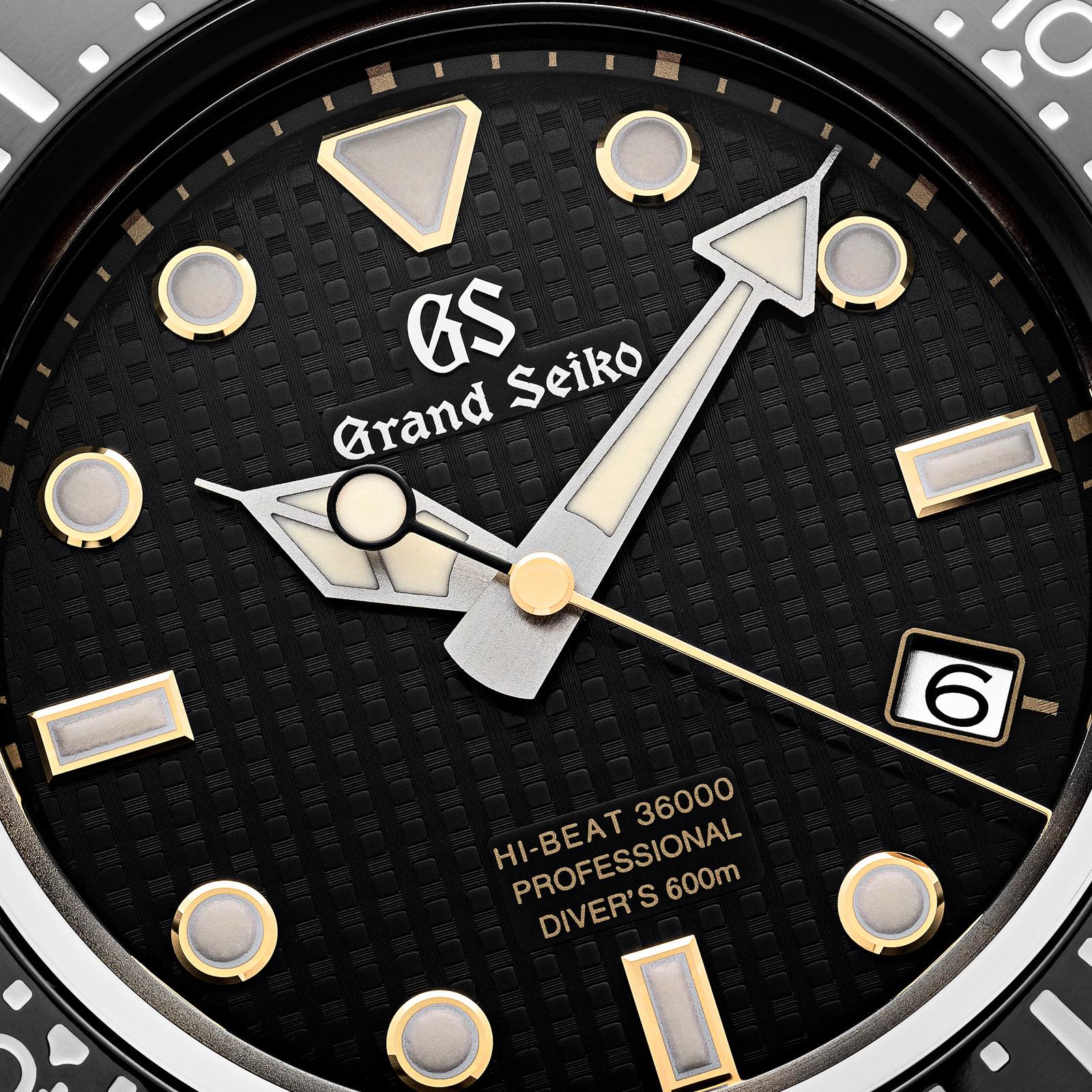 Grand Seiko SBGH255 - macro detail of the black textured dial.