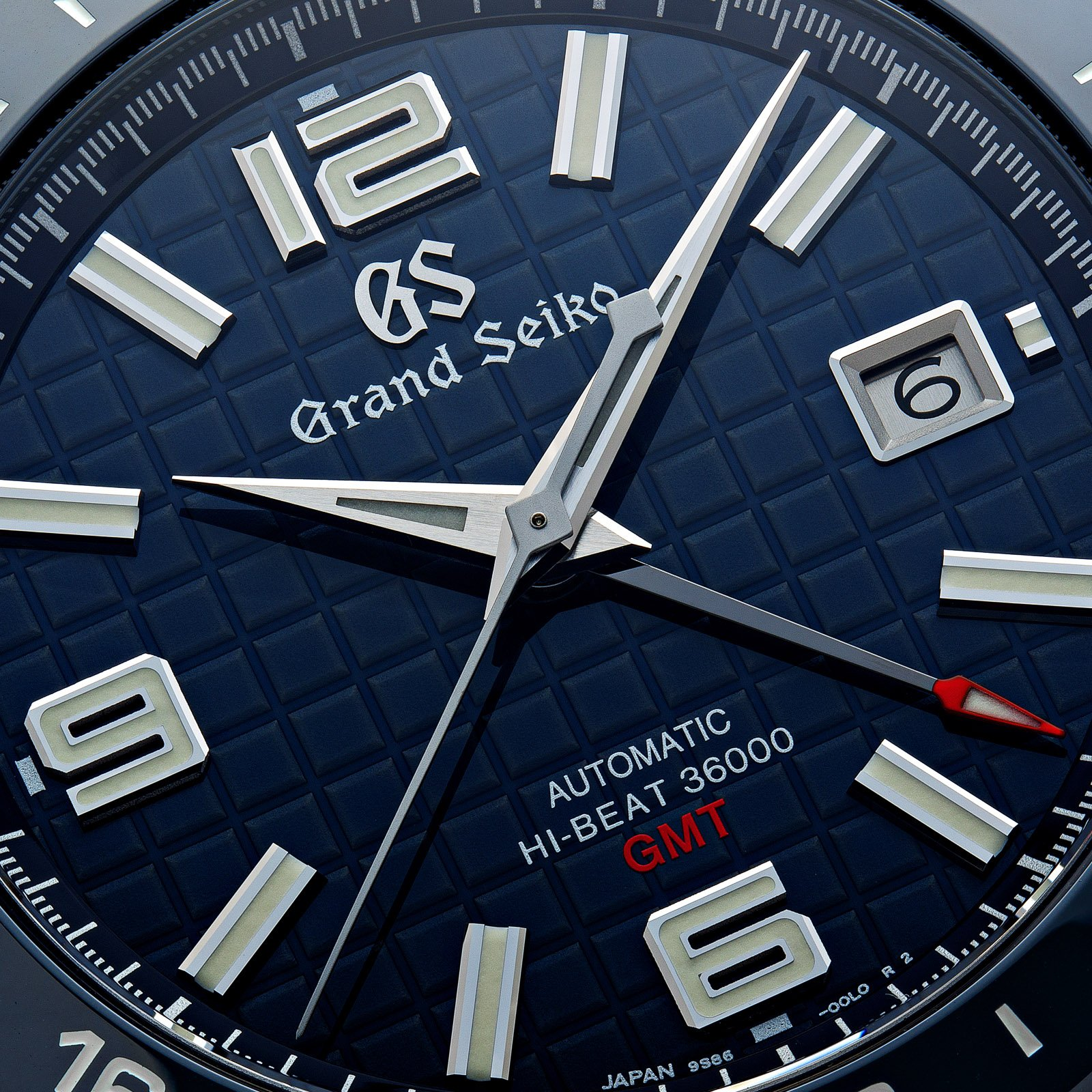 Grand Seiko SBGJ233 - macro detail of the blue patterned dial.