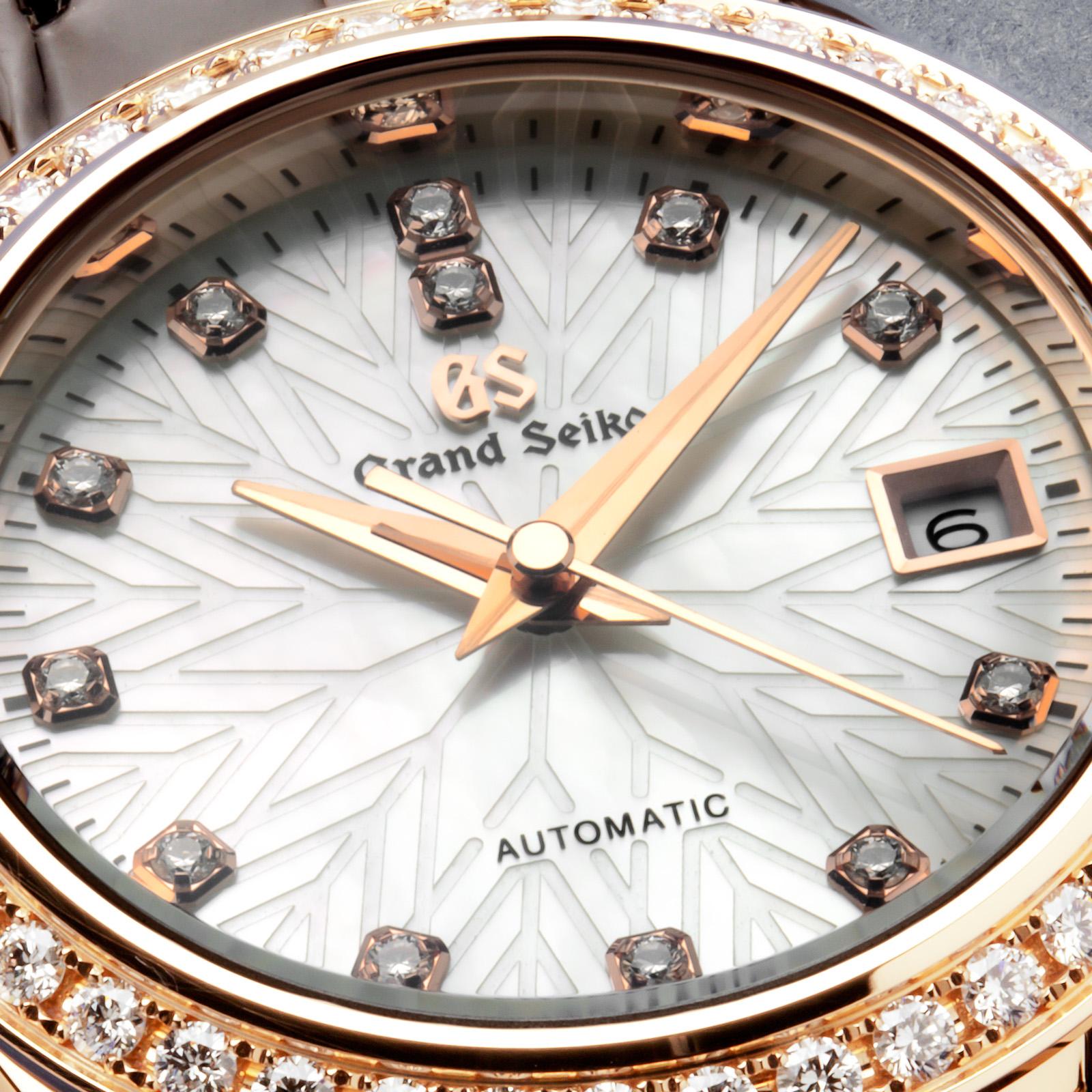 Grand Seiko wristwatch STGK006 - dial macro highlighting the snowflake motif.