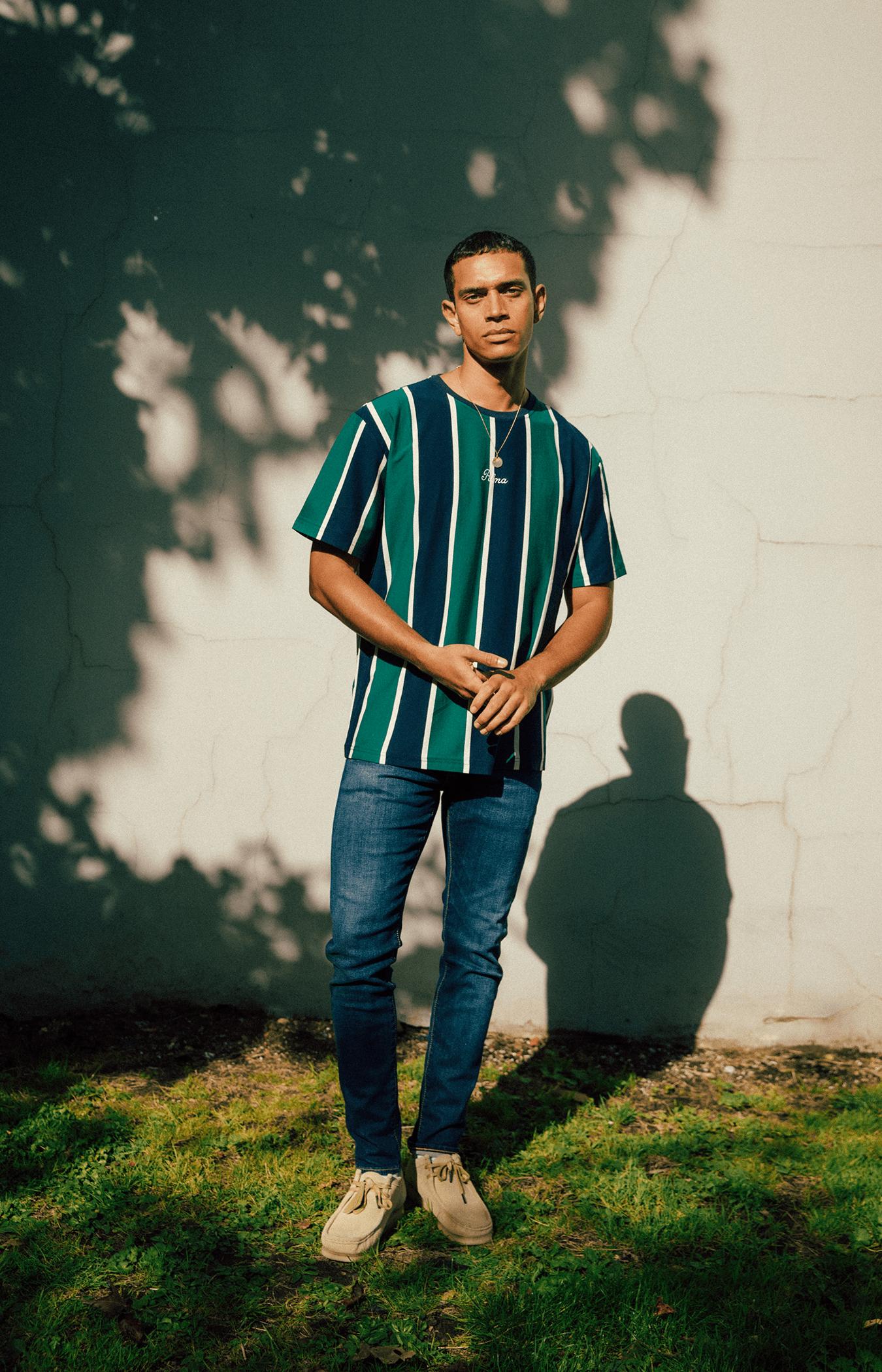 Navy Green Carita Stripe T-Shirt