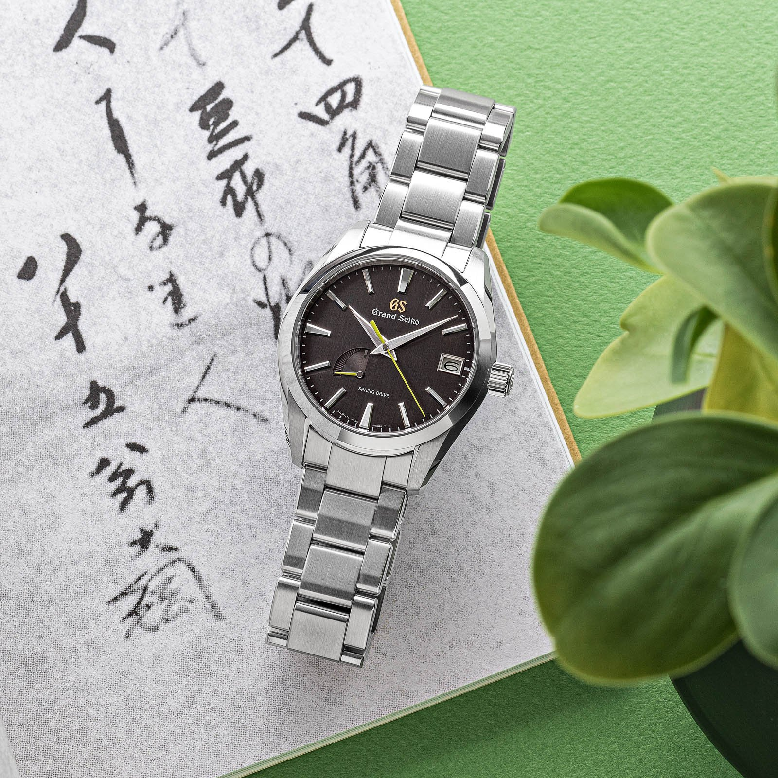 A dark dial wristwatch on a book.
