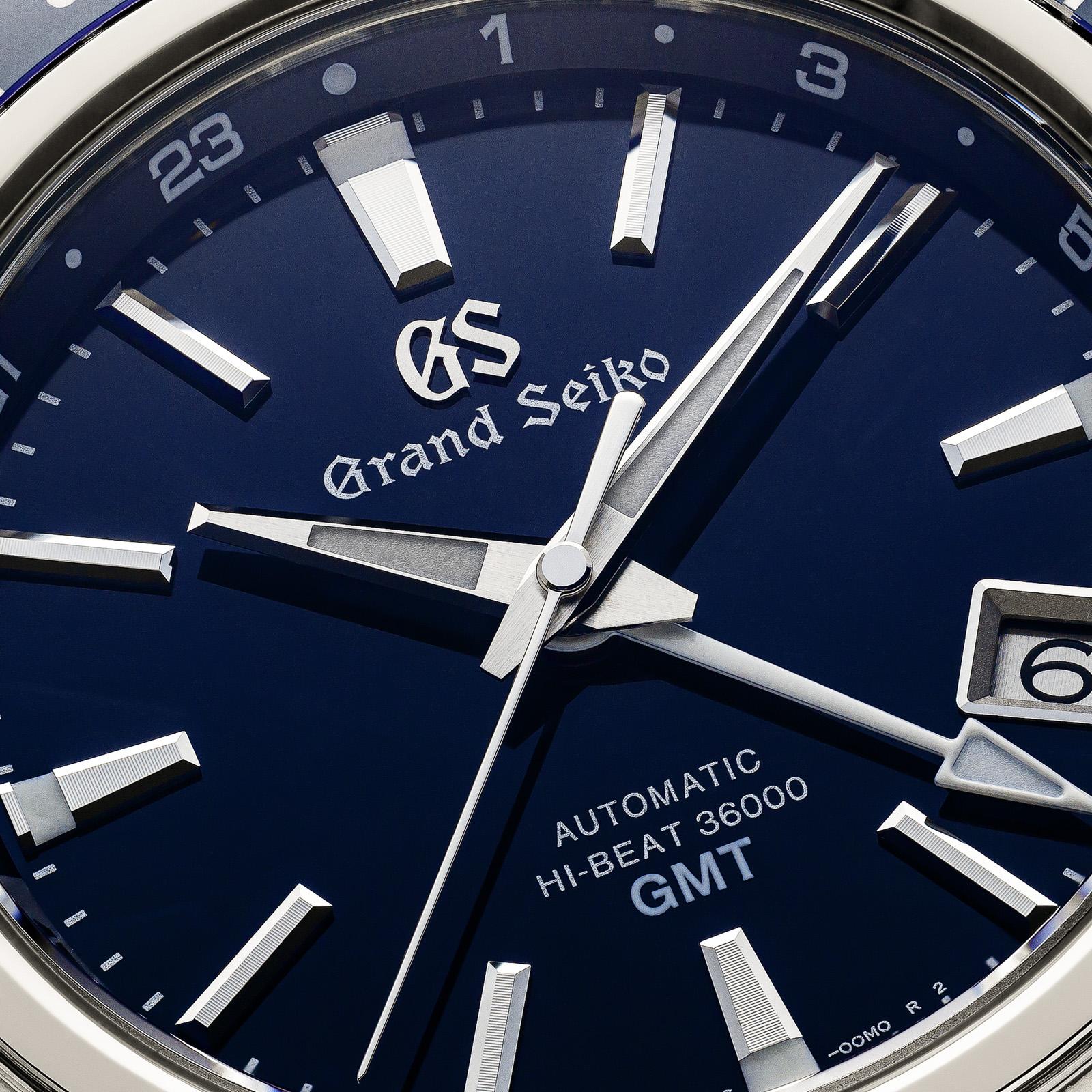 Grand Seiko SBGJ237 - macro detail of the blue dial.