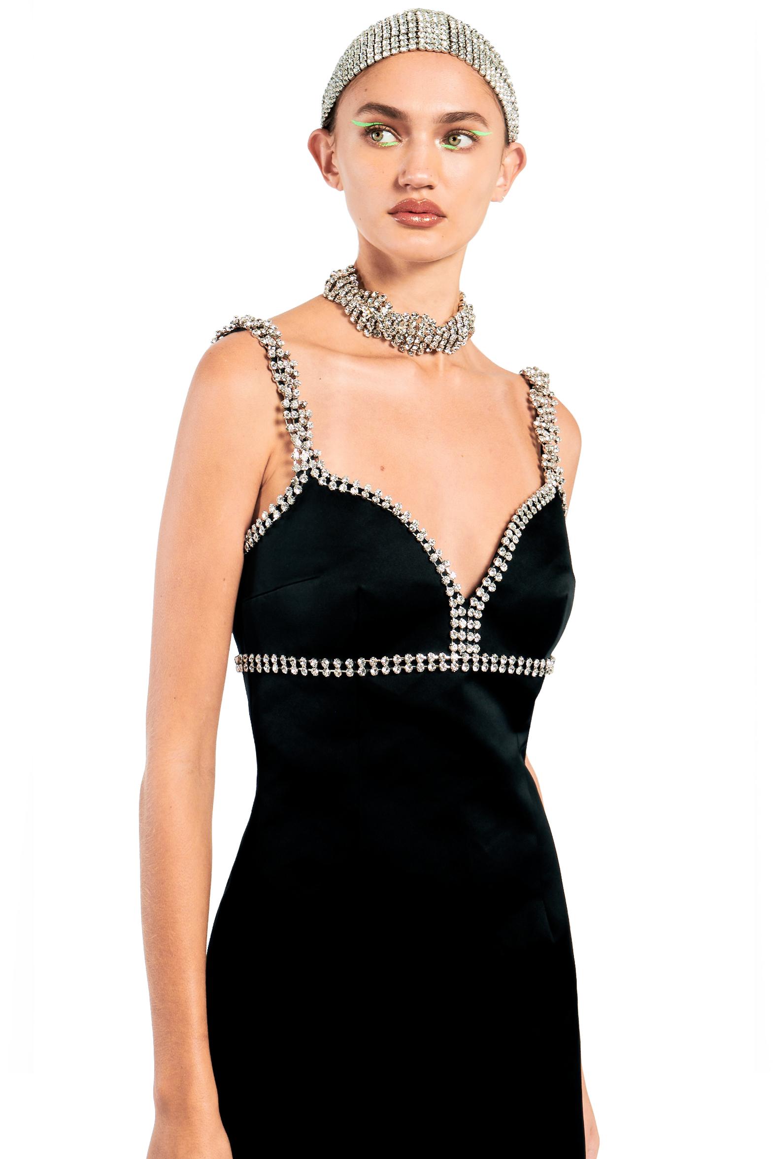 Sweetheart Mini Dress with Braided Crystal Trim