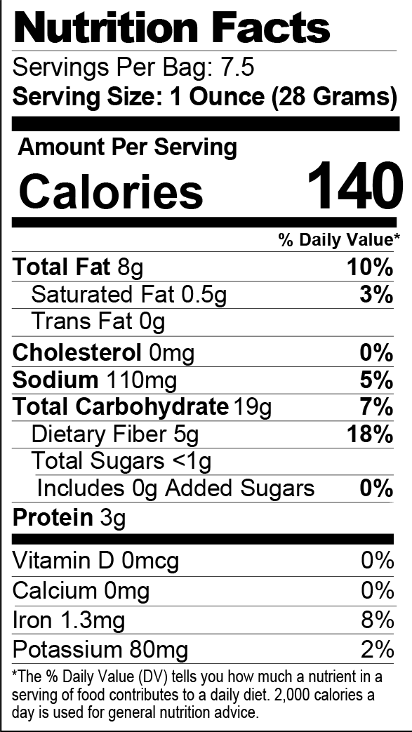 Sea Salt Seasoned Popcorn nutrition facts