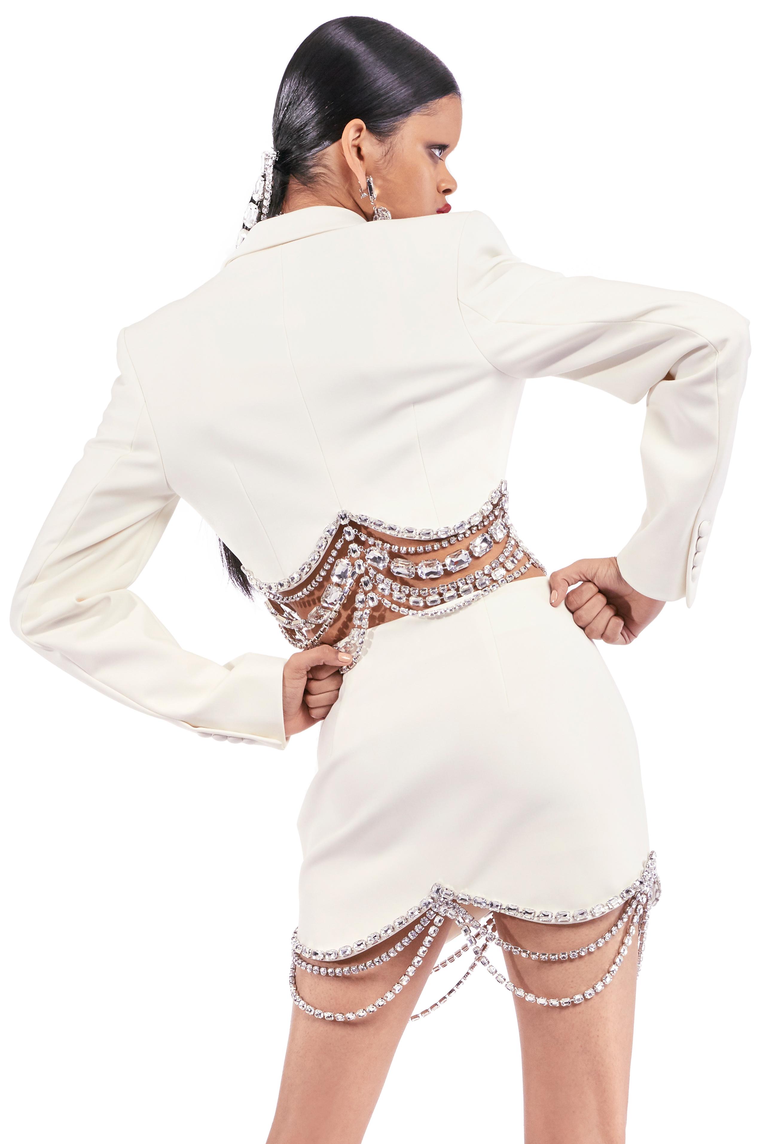 Crystal Baguette Cropped Blazer