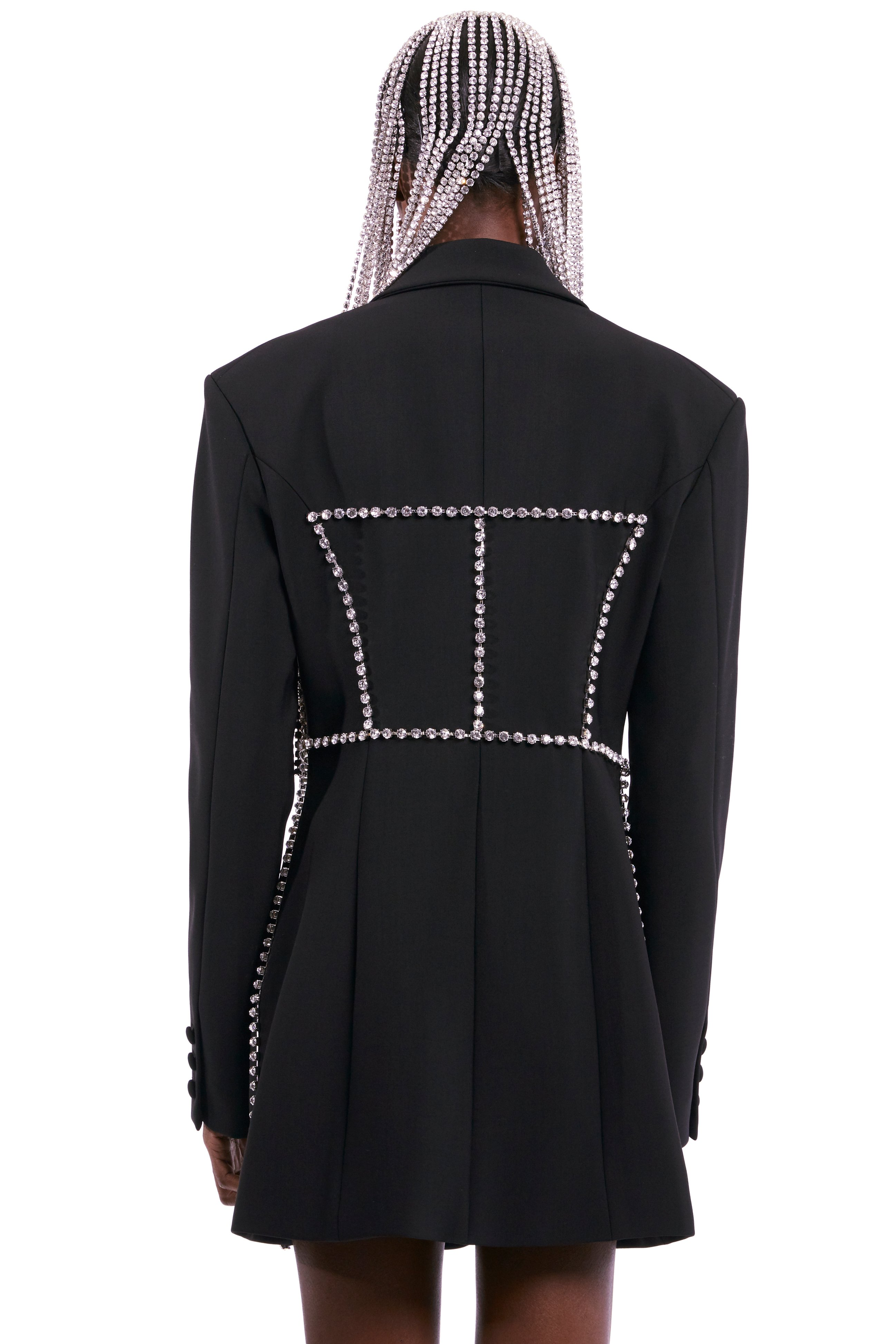 Crystal Stitched Corset Blazer Dress