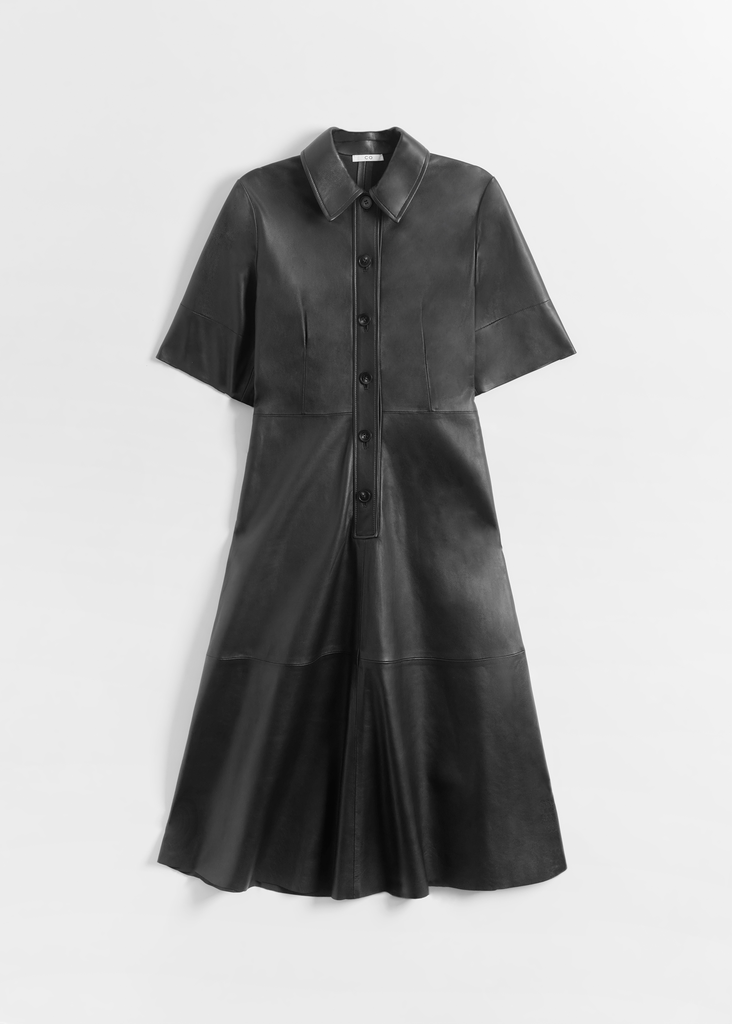 CO - Placket Dress in Leather - Black