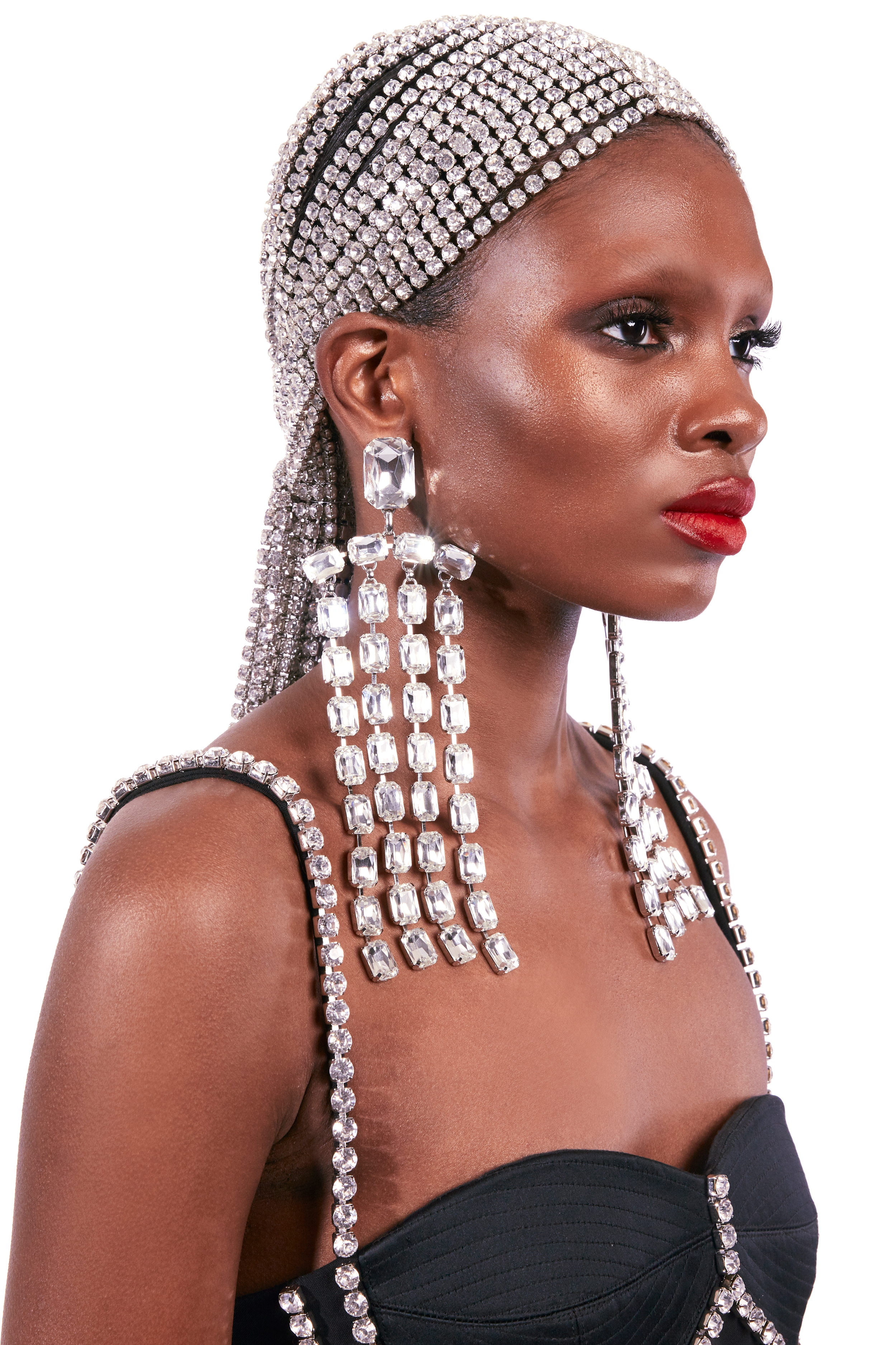 Baguette Crystal Fringe Earrings