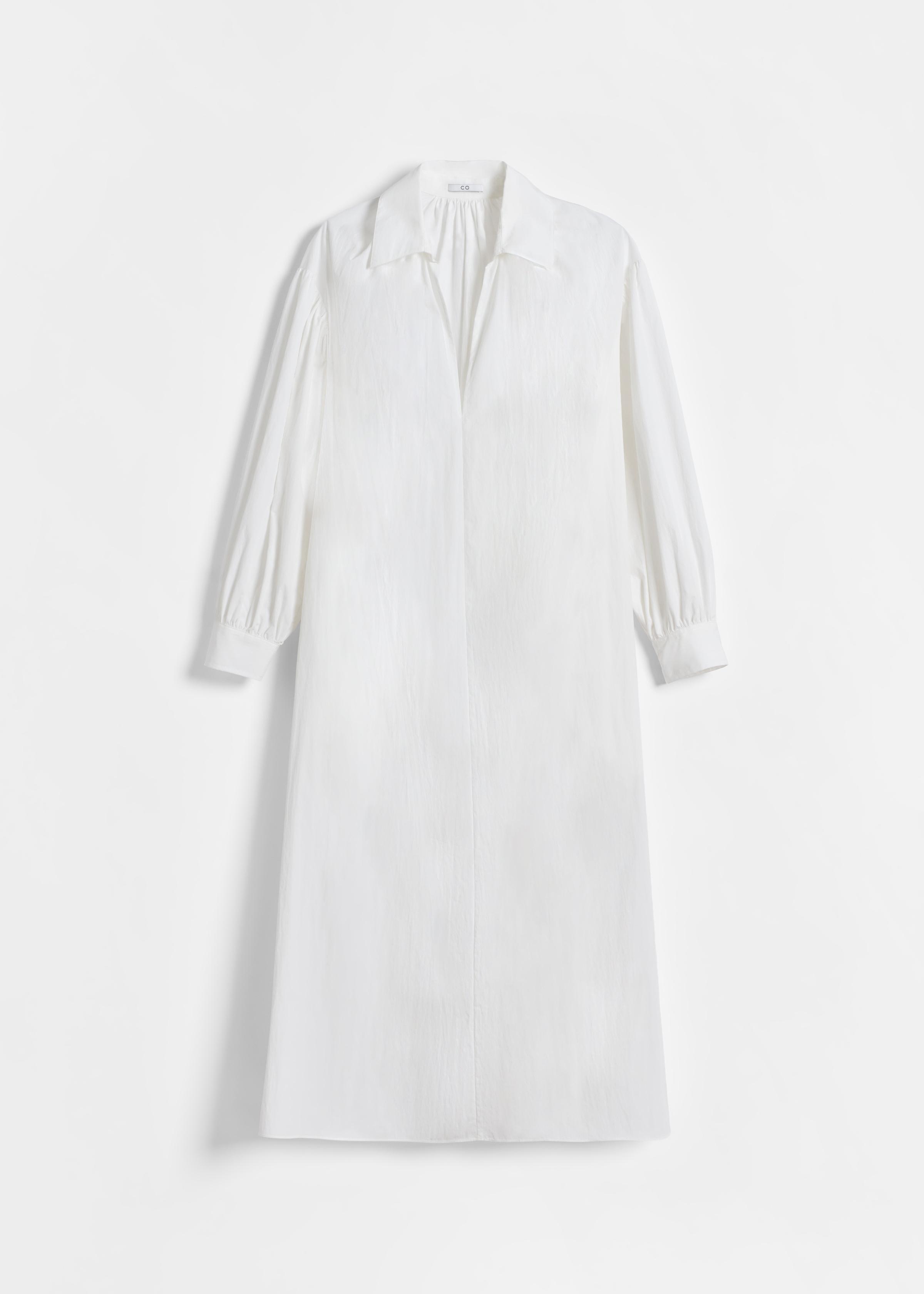 Long Sleeve V Neck Dress - White - by Zoe Gherter for Co