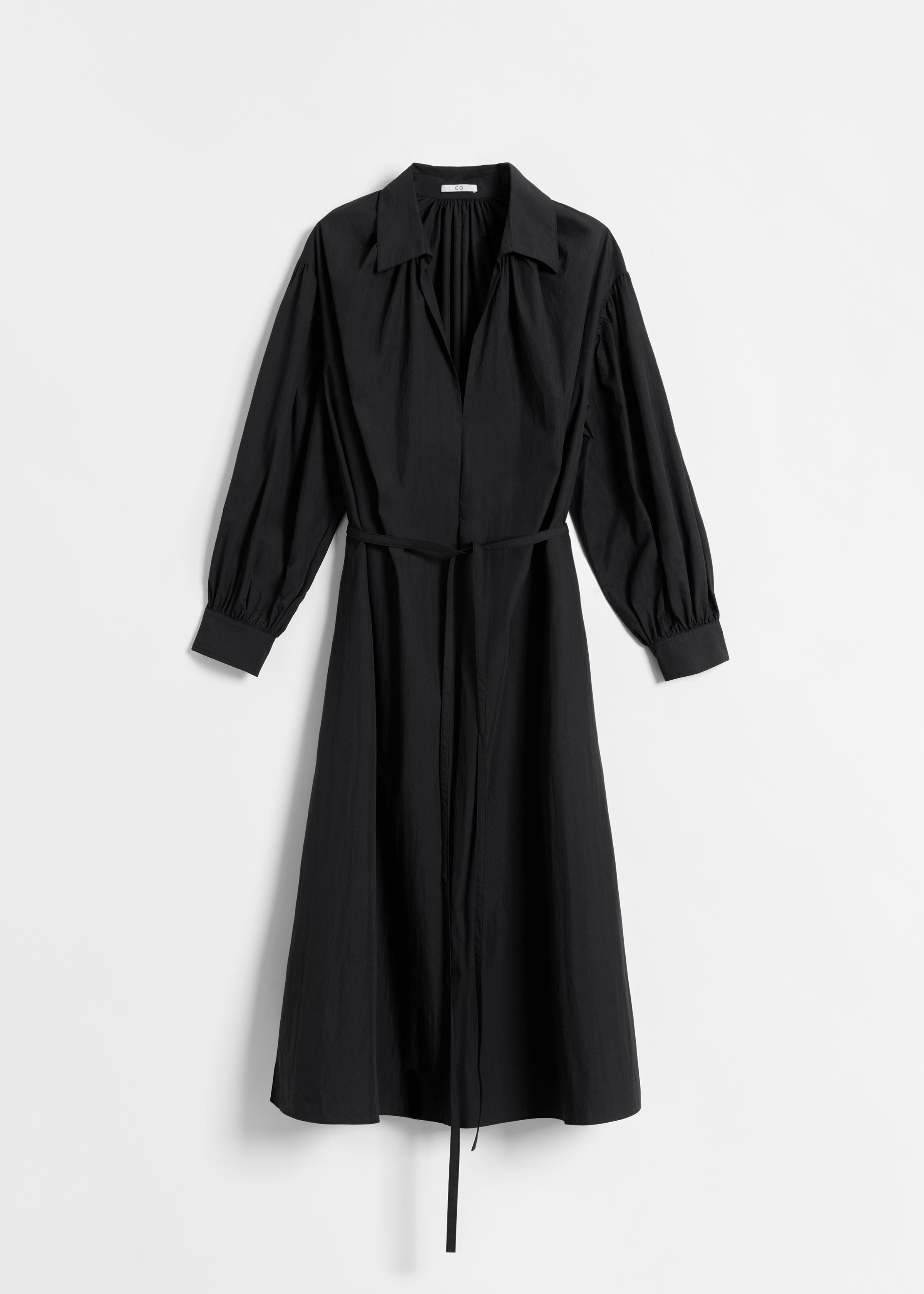 Long Sleeve V Neck Dress in Cotton - Black - CO