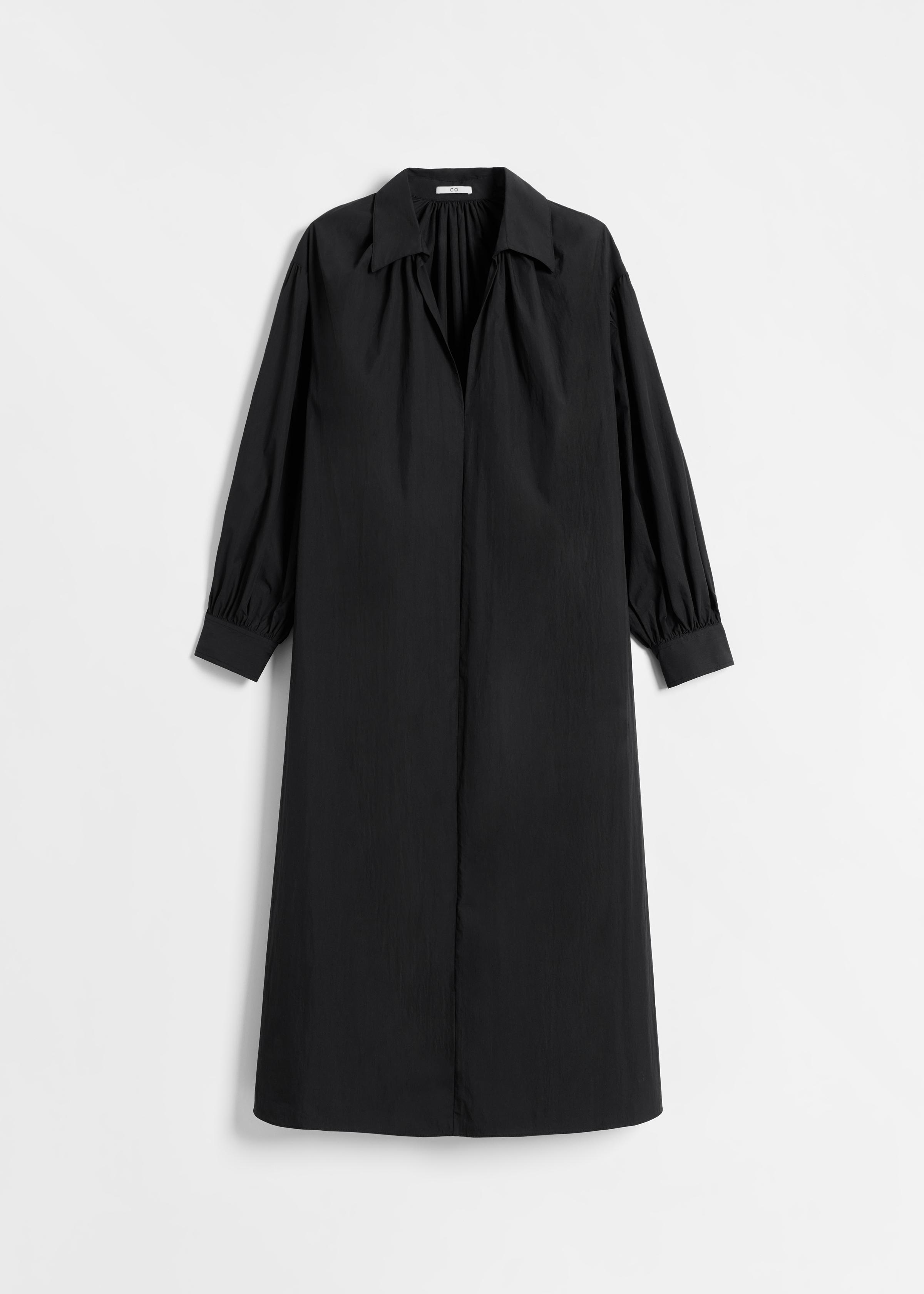 Long Sleeve V Neck Dress in Cotton - Black - by Zoe Gherter for Co