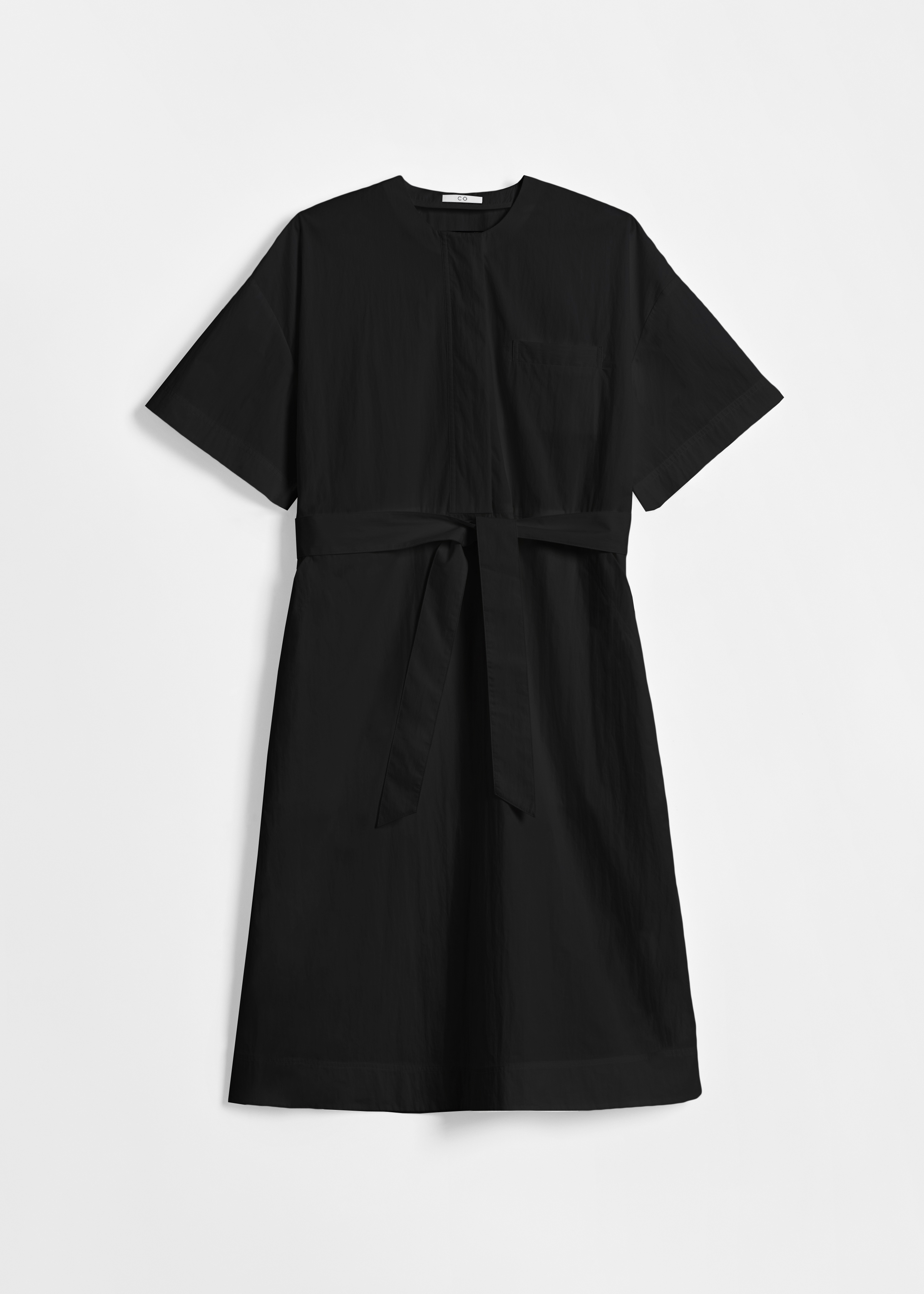 Belted Short Sleeve Dress in Cotton - White in Black by Co Collections